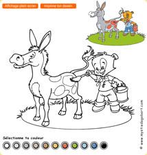 Dagobert fait des bêtises - coloriage âne, jeu gratuit