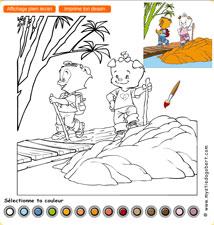 Coloriage randonnée - Mystie et Dagobert en Chine, jeu gratuit